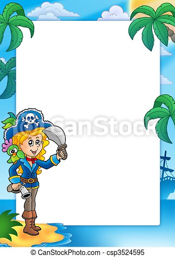 Frame with pretty pirate girl - csp3524595