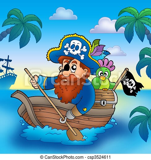 Cartoon pirate paddling in boat - csp3524611