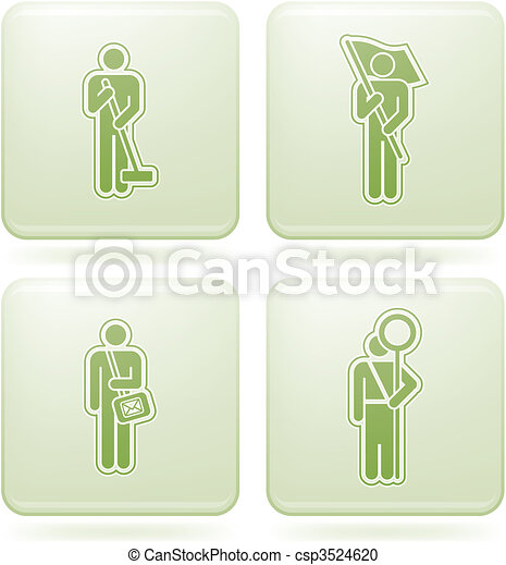Olivine Square 2D Icons Set: Occupation - csp3524620