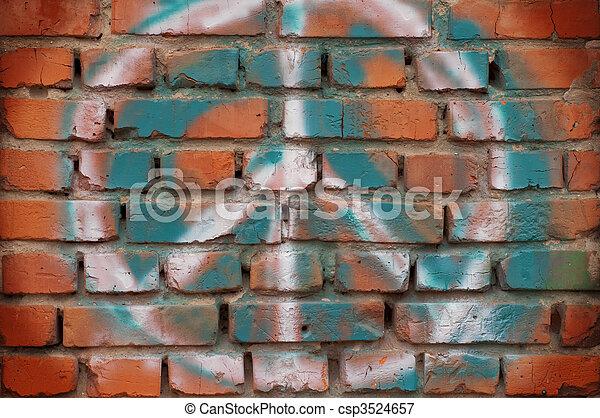 Brick wall with a symbol graffiti for design. - csp3524657