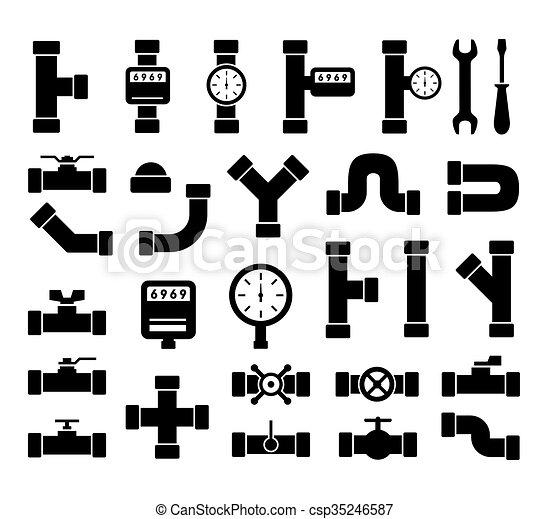 black plumbing pipes set - csp35246587