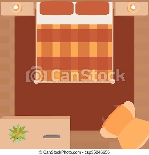 clipart vektor von wohnung, schlafzimmer, abbildung, möbel - flat, Schlafzimmer entwurf