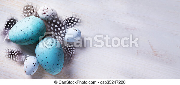 Happy Easter! Festive decoration with Easter eggs