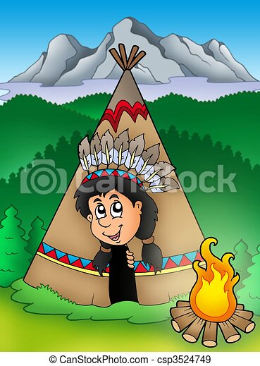 Native American Indian in tepee - csp3524749