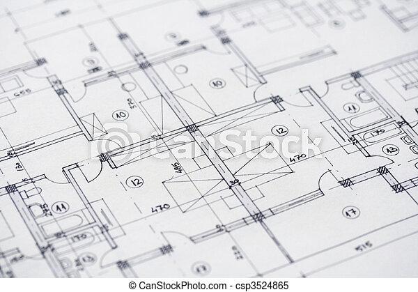 arkitektur, Planer - csp3524865