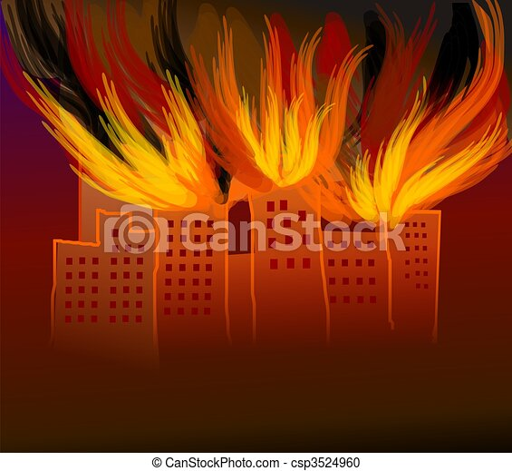 Stock Illustration Of Fire Burning Digital Painting Of