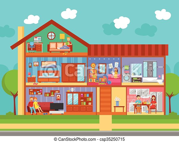 Vector Clip Art Of Family Home Interior Design Concept