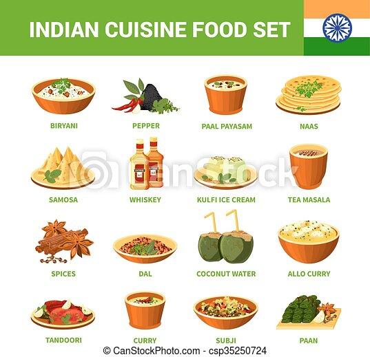Vector illustration of indian cuisine food set indian for Art of indian cuisine