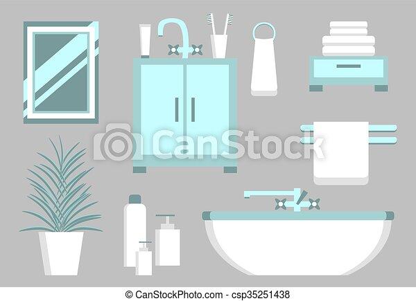 Vektoren von wohnung badezimmer elemente satz von for Badezimmer clipart