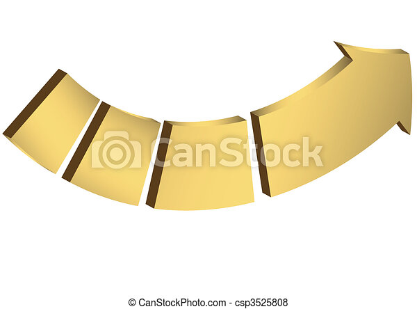 The gold arrow divided into parts - csp3525808