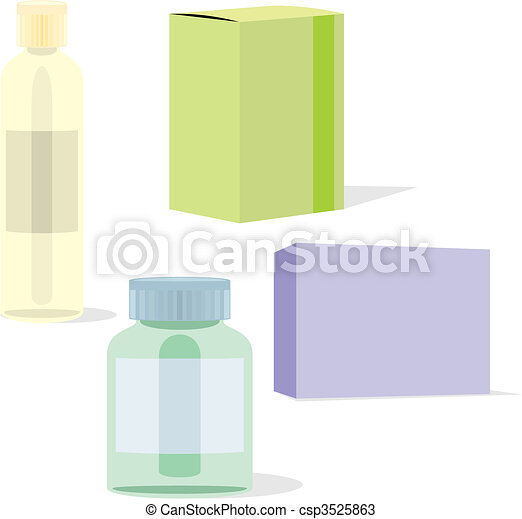 isolated painkillers bottle and box - csp3525863