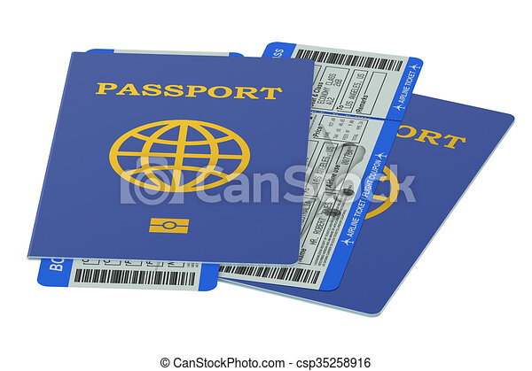 Two passports and boarding pass tickets - csp35258916