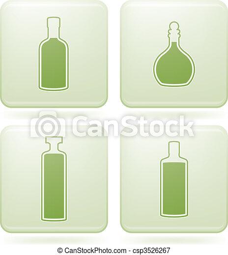 Olivine Square 2D Icons Set: Alcohol bottles - csp3526267
