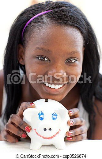 Bright teen girl holding a piggy-bank  - csp3526874