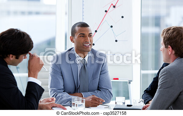 Successful businessmen having a brainstorming - csp3527158