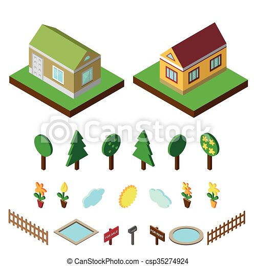 Vector Illustration of Isometric house.3D Village landscape icons ...