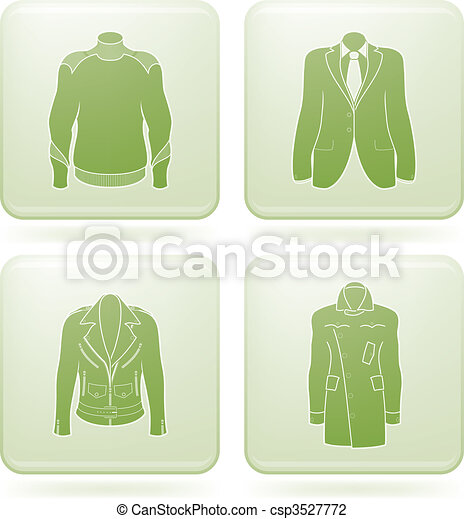 Olivine Square 2D Icons Set: Man's Clothing - csp3527772