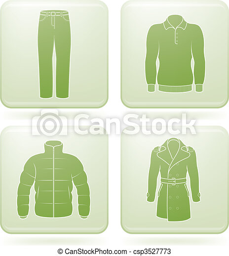 Olivine Square 2D Icons Set: Man\'s Clothing - csp3527773