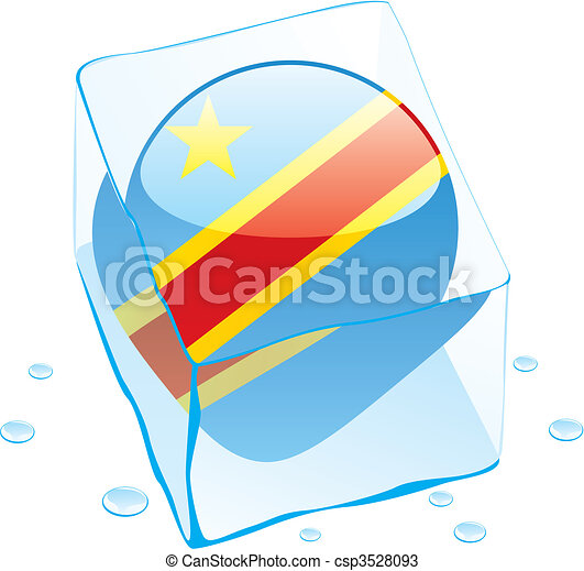 democratic congo flag frozen in ice - csp3528093