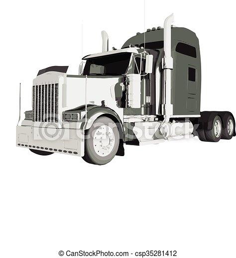 Clip art vecteur de isol am ricain vecteur camion - Camion americain dessin ...