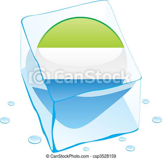 sierra leone flag frozen in ice - csp3528159