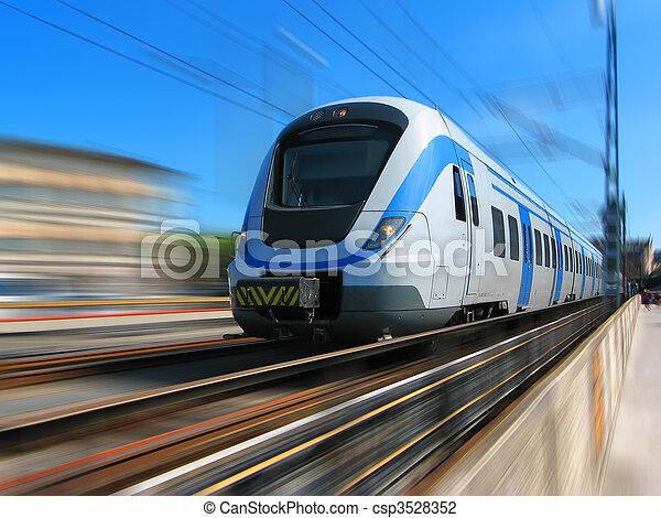 de alta velocidad, movimiento, tren, mancha - csp3528352