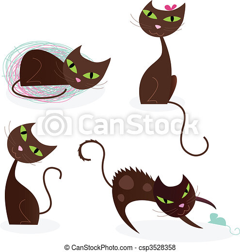 Brown cat series in various poses 2 - csp3528358