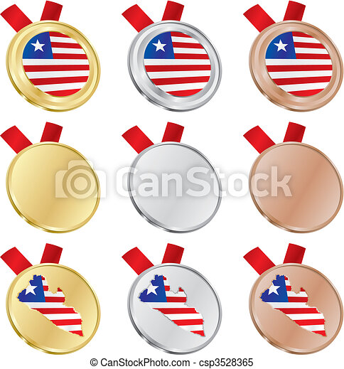 liberia vector flag in medal shapes - csp3528365