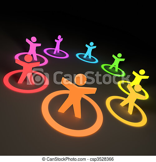 Group of Colourful People - csp3528366