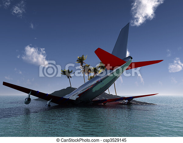 Stock Illustrations of Crashed Plane - A plane that has crashed ...
