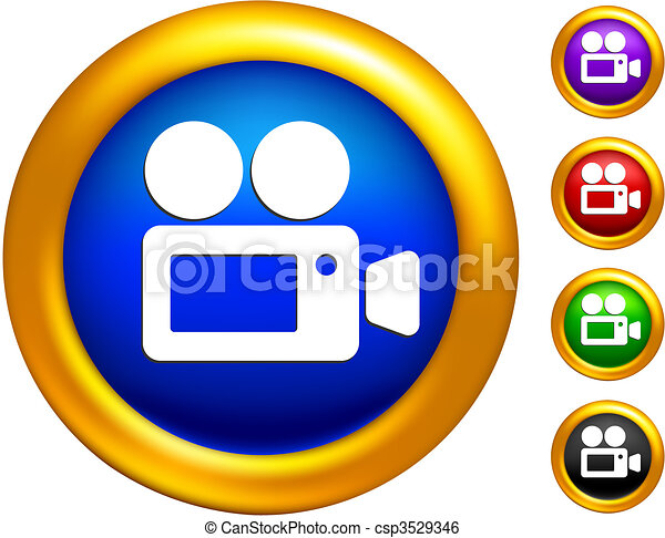 video camera icon on  buttons with golden borders - csp3529346