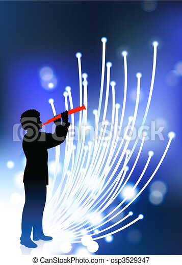 young clarinet player on fiber optic background - csp3529347