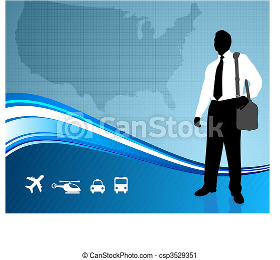 Business traveler on US map backgroundtraveler  - csp3529351
