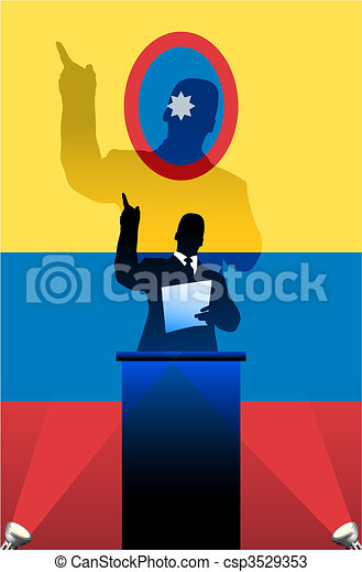 Columbia flag with political speaker behind a podium - csp3529353