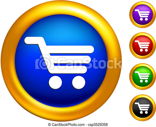 shopping cart icon on  buttons with golden borders - csp3529358