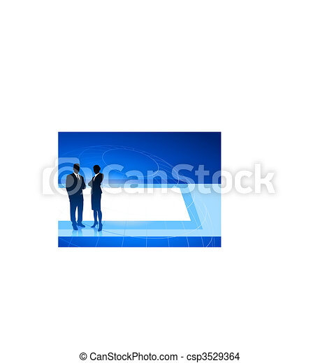 Business executives on blue internet background - csp3529364