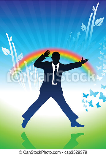excited businessman jumping on rainbow background - csp3529379