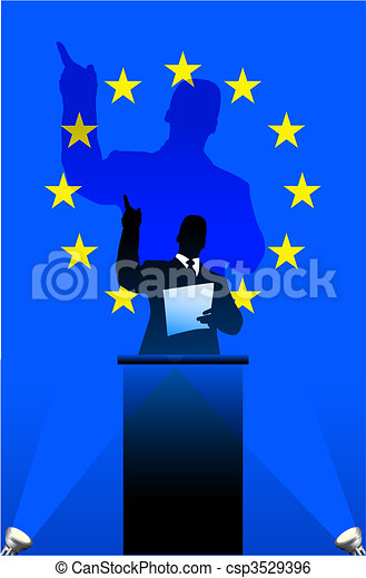 European Union flag with political speaker behind a podium - csp3529396