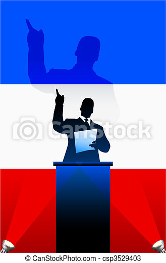 France flag with political speaker behind a podium - csp3529403