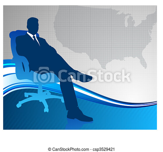 Business executive on US map background - csp3529421