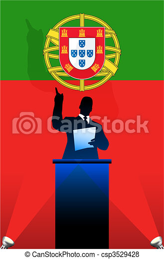 Portugal flag with political speaker behind a podium - csp3529428