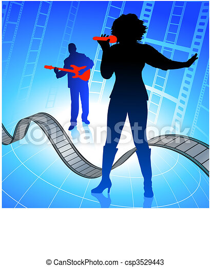 Live music band on internet film background - csp3529443