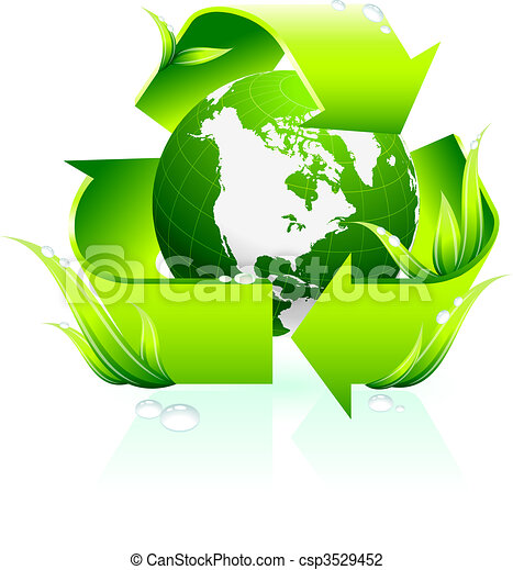 Recycling symbol with globe background - csp3529452