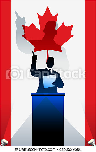 Canada flag with political speaker behind a podium - csp3529508