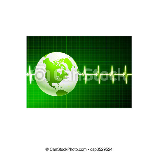 Simple cardiogram green background with globe - csp3529524