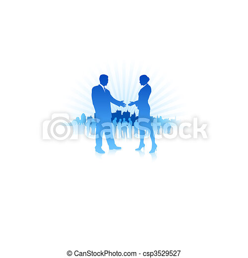 Businessman and Businesswoman meeting with Skyline Background - csp3529527