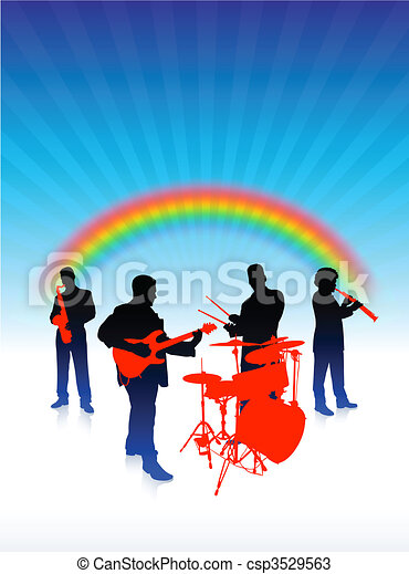 music band on rainbow internet background - csp3529563