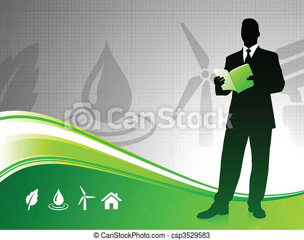 Business man on green environment background - csp3529583