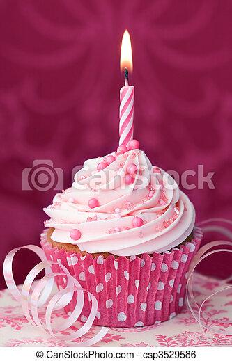 粉紅色, 生日,  Cupcake - csp3529586