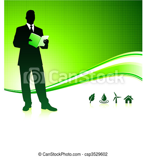 Business man on green environment background - csp3529602